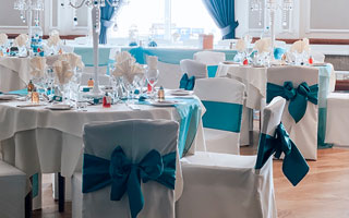 chair covers teal sash